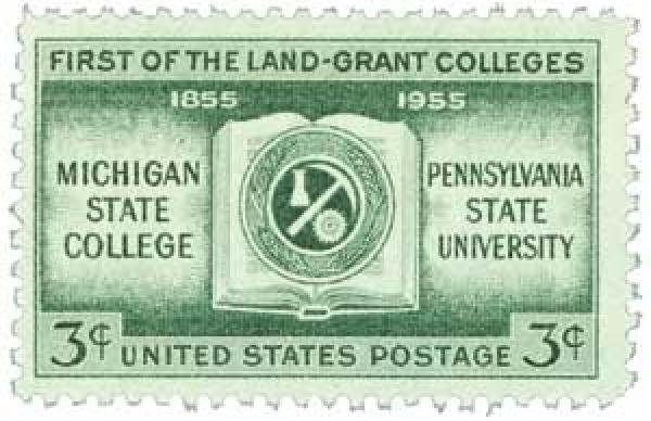 Pennsylvania State, along with Michigan State, became the first land grant colleges in the U.S. when the Morrill Act was passed. Government gave land to the schools to continue to improve agricultural education. This stamp represents the centennial.