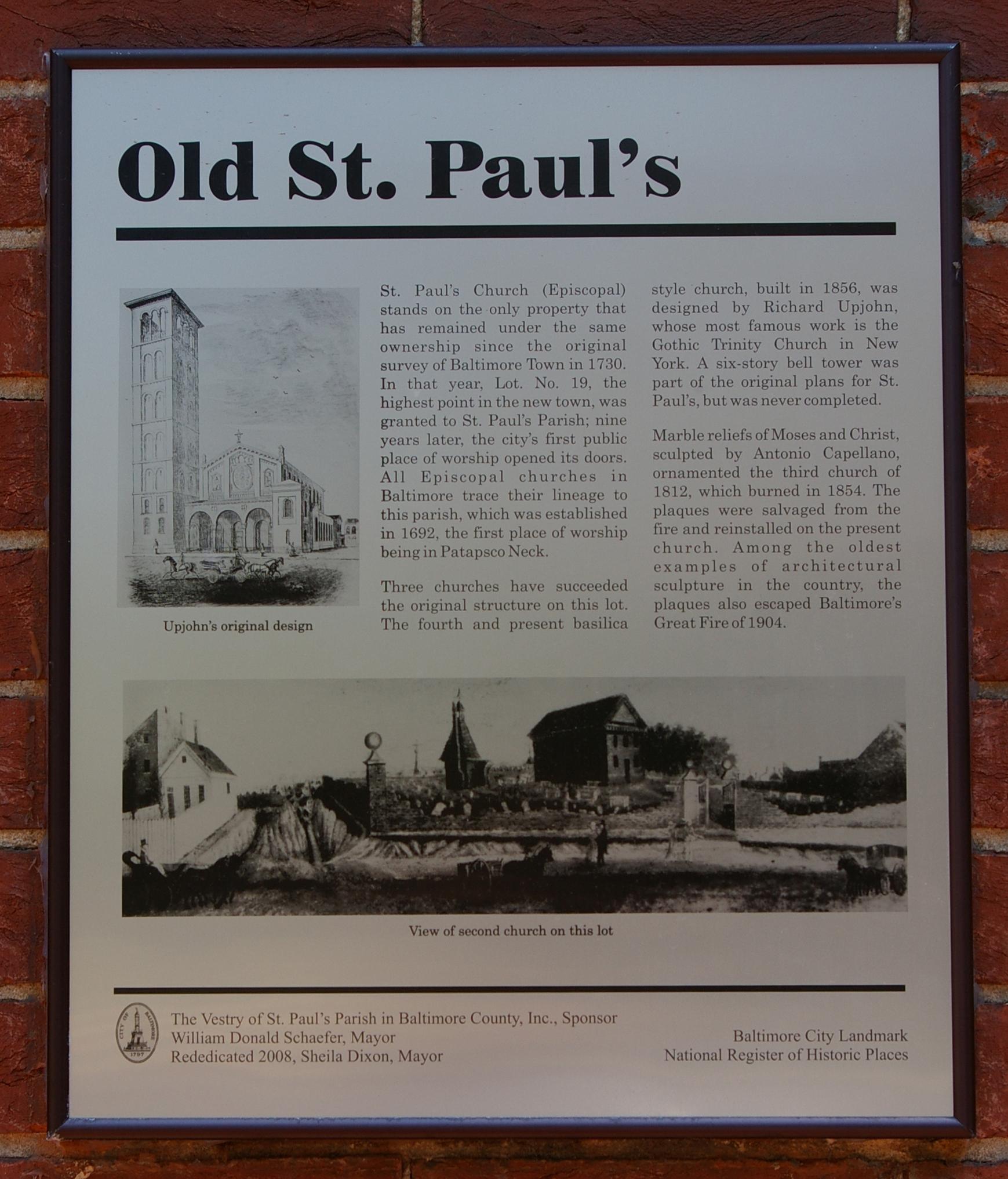 Old St. Paul's historical marker (source: http://www.hmdb.org/Marker.asp?Marker=92305)