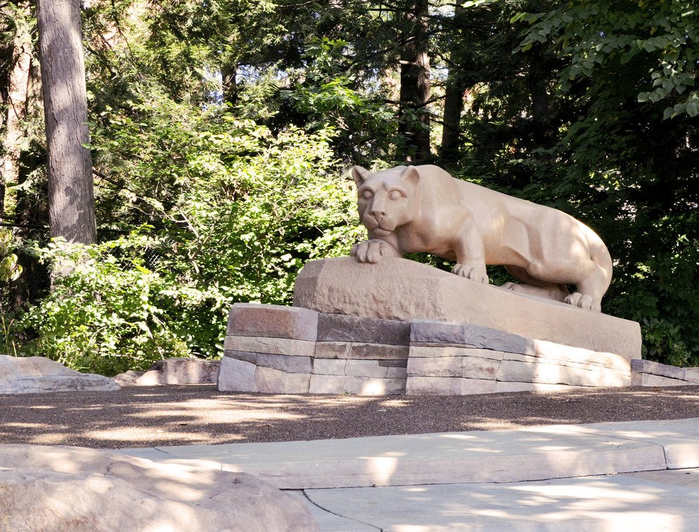This photo, taken by Laura Waldhier with the Penn State news, shows the view of the lion shrine that Penn State students and alumni line up to see. It is tradition to get a picture with the shrine at graduation and homecoming.