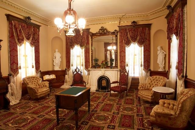 The Stanford Mansion library in its current incarnation. Many of the furnishings belonged to the Stanfords. (CA State Parks).