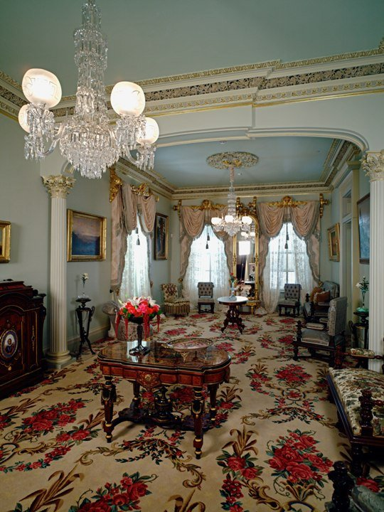 The Main Parlor. Originally built in 1856 by a Gold Rush merchant, it was remodeled twice under the Stanfords' decades of ownership. CA State Parks.