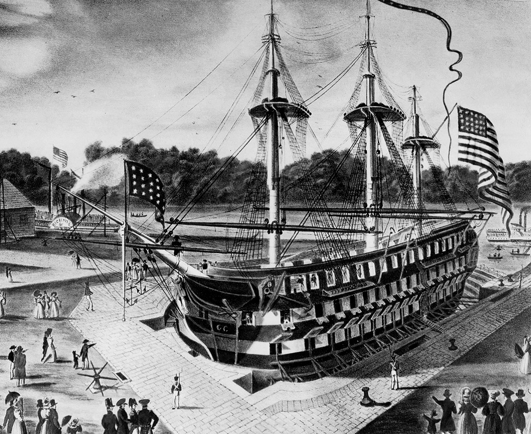 The first ship to utilize the drydock in 1833, USS Delaware.  Library of Congress.