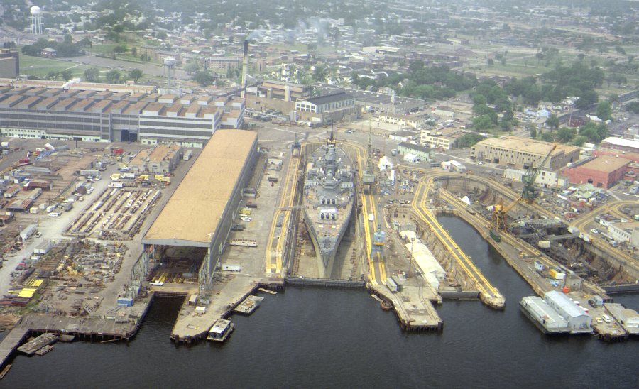 USS Iowa undergoing refit in the drydock, 1985. National Archives.