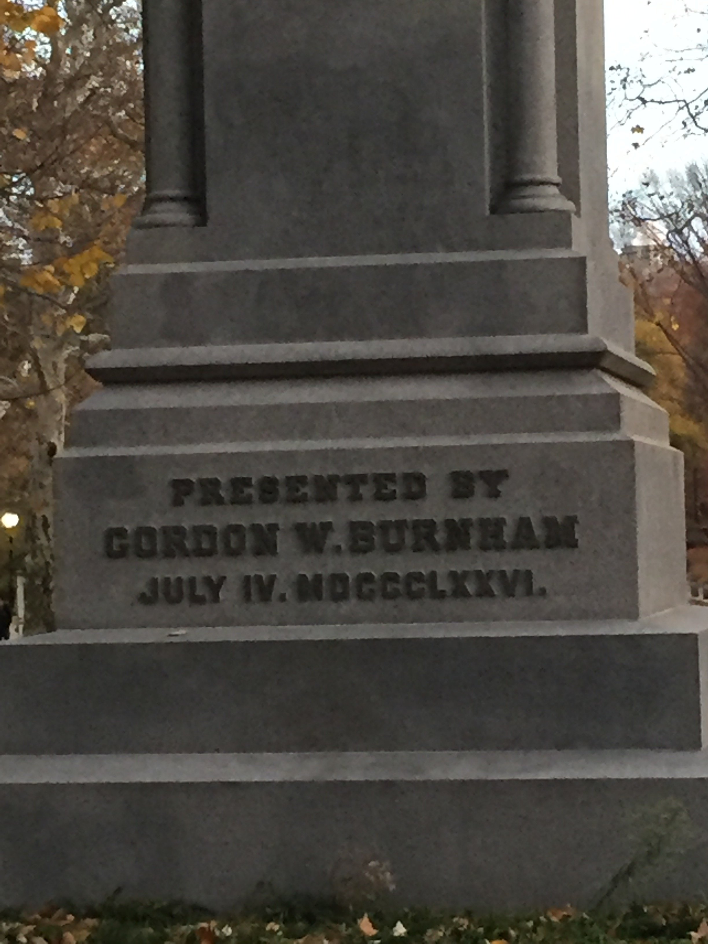 Text on back of monument