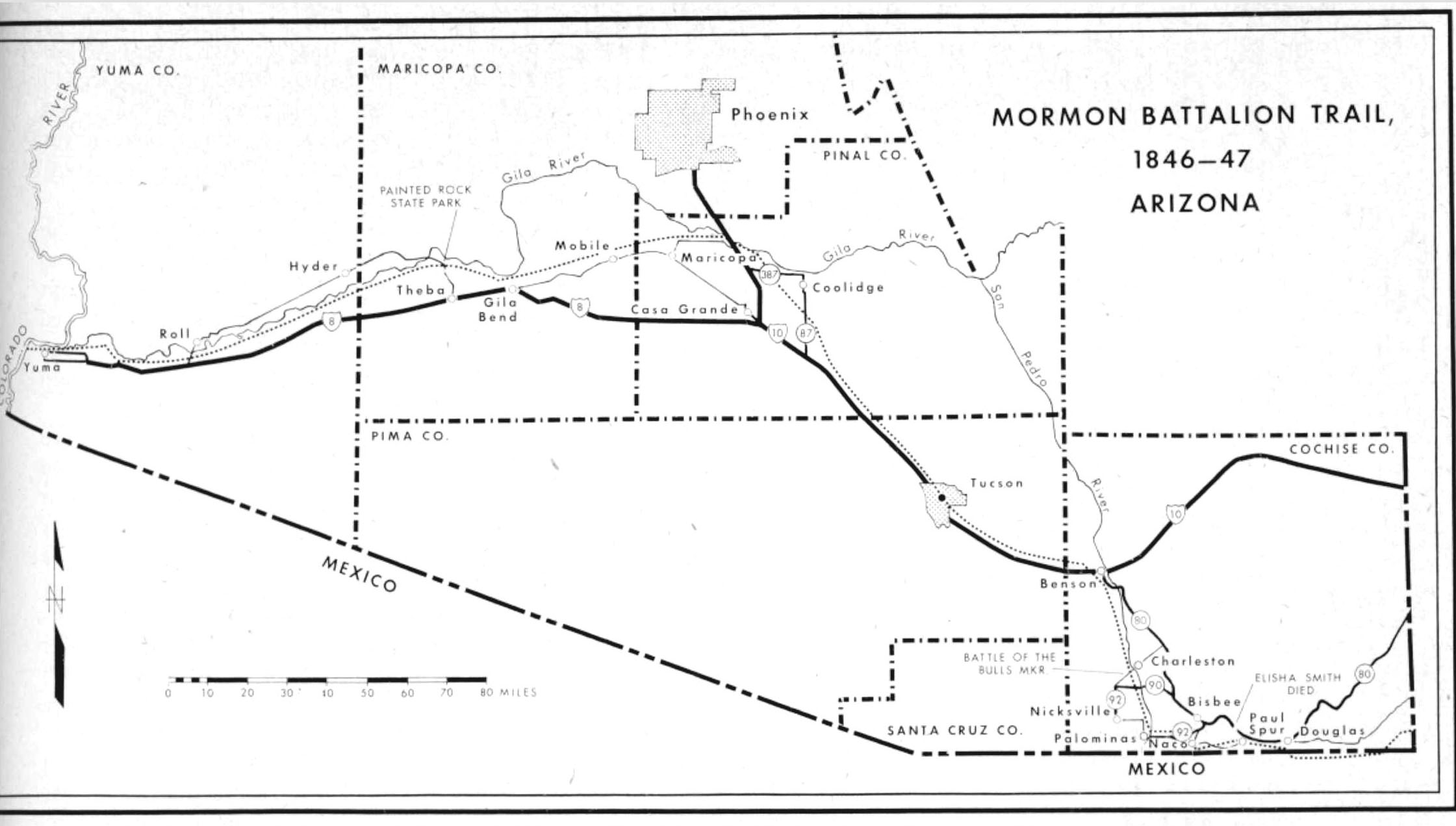 Mormon Battalion's march across Arizona. Small dotted line marks their route