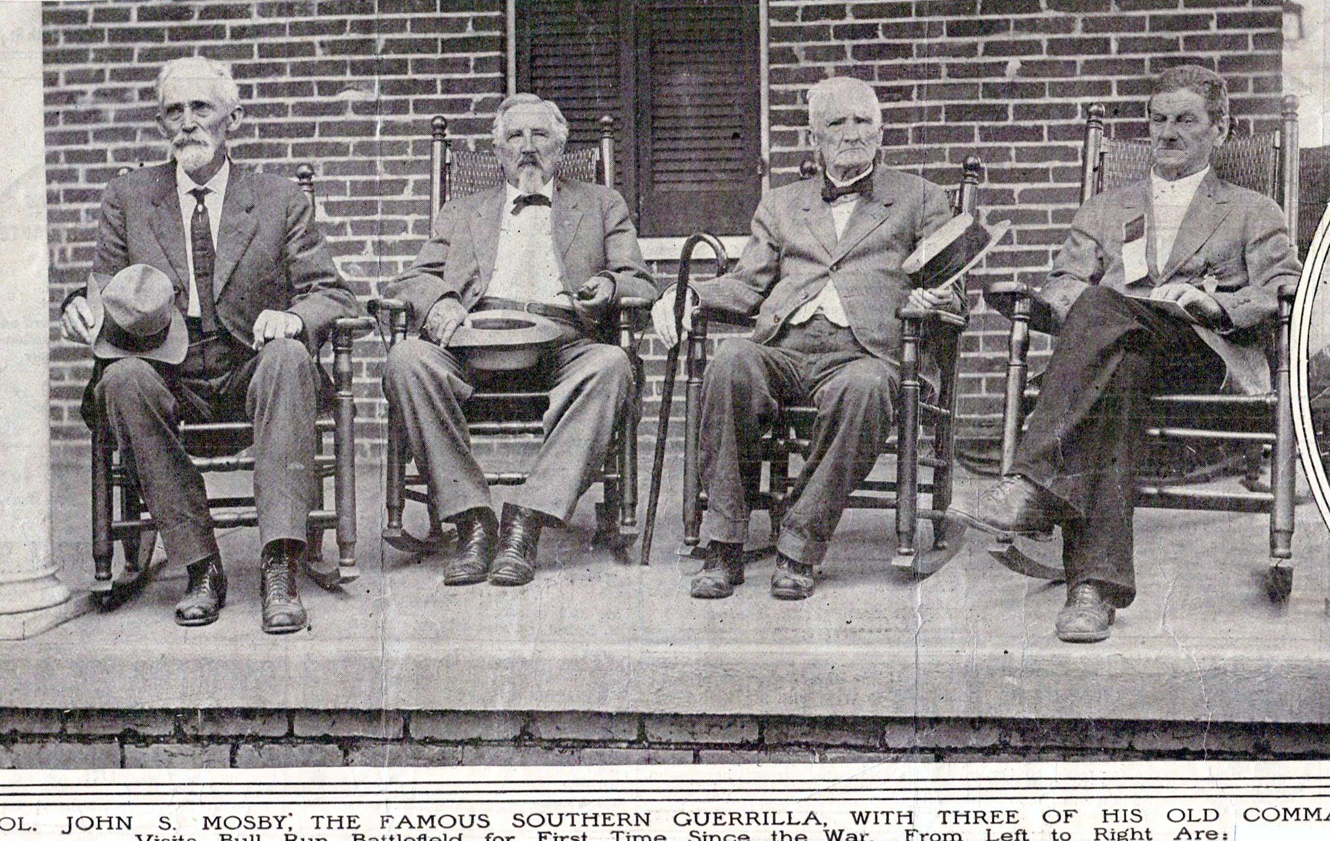 Reunion of Mosby with some of his men. Pictured from left to right are Fount Beattie, Lygurgus Hutchison, John Mosby, and George Turberville.
