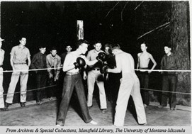 "Sports were a popular way for enrolees to spend their free time. James ""Spider"" McCallum visited Fort Missoula to teach boxing. (ca. 1930s)"