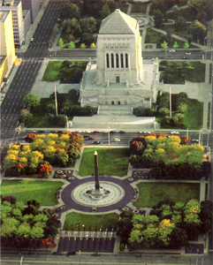 Aerial view of the Indiana War Memorial Building and plaza