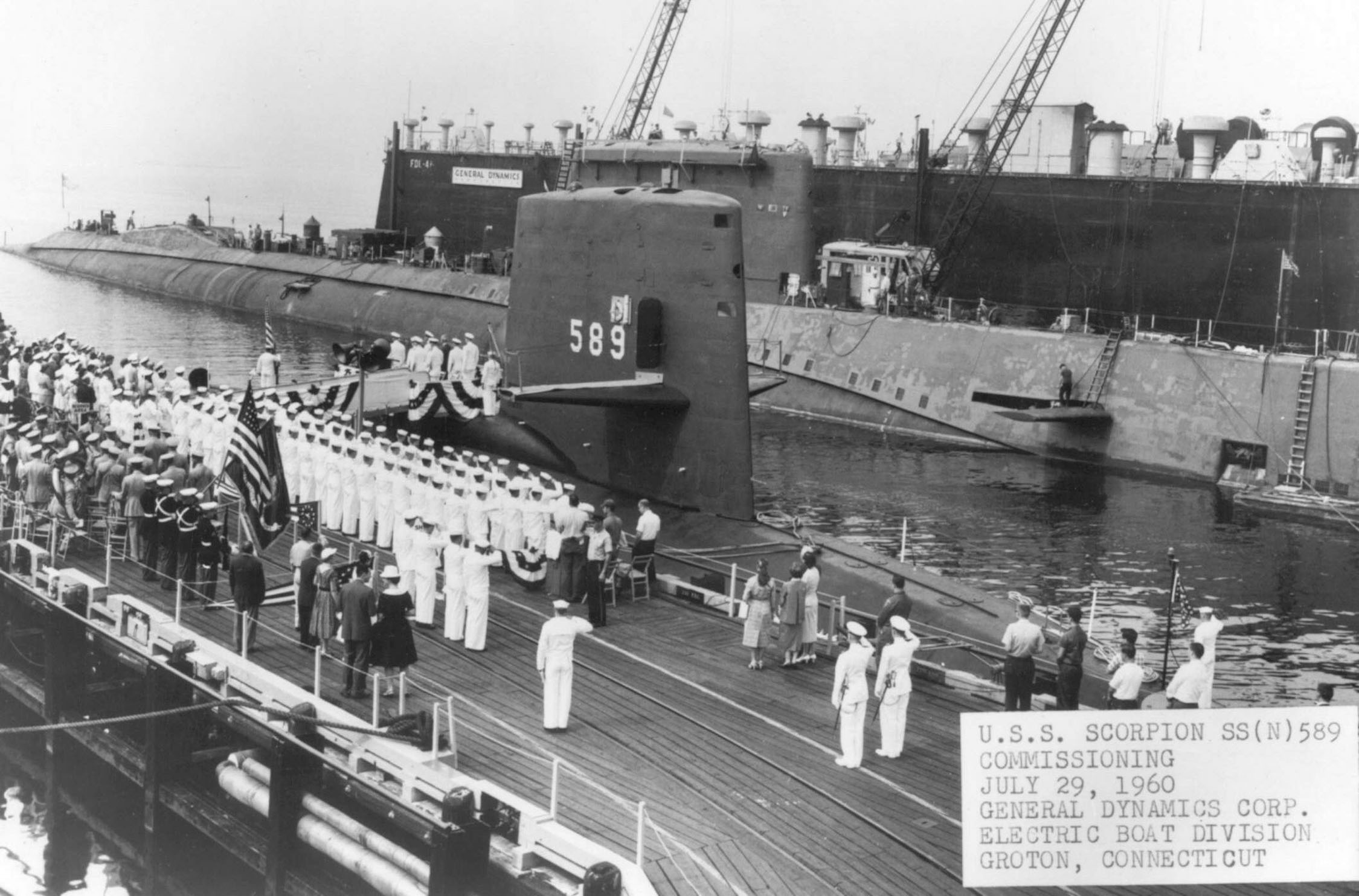 Commissioning of the U.S.S. Scorpion, 29 July 1960.  Photo # USN 1051824, courtesy of Scott Koen and ussnewyork.com.