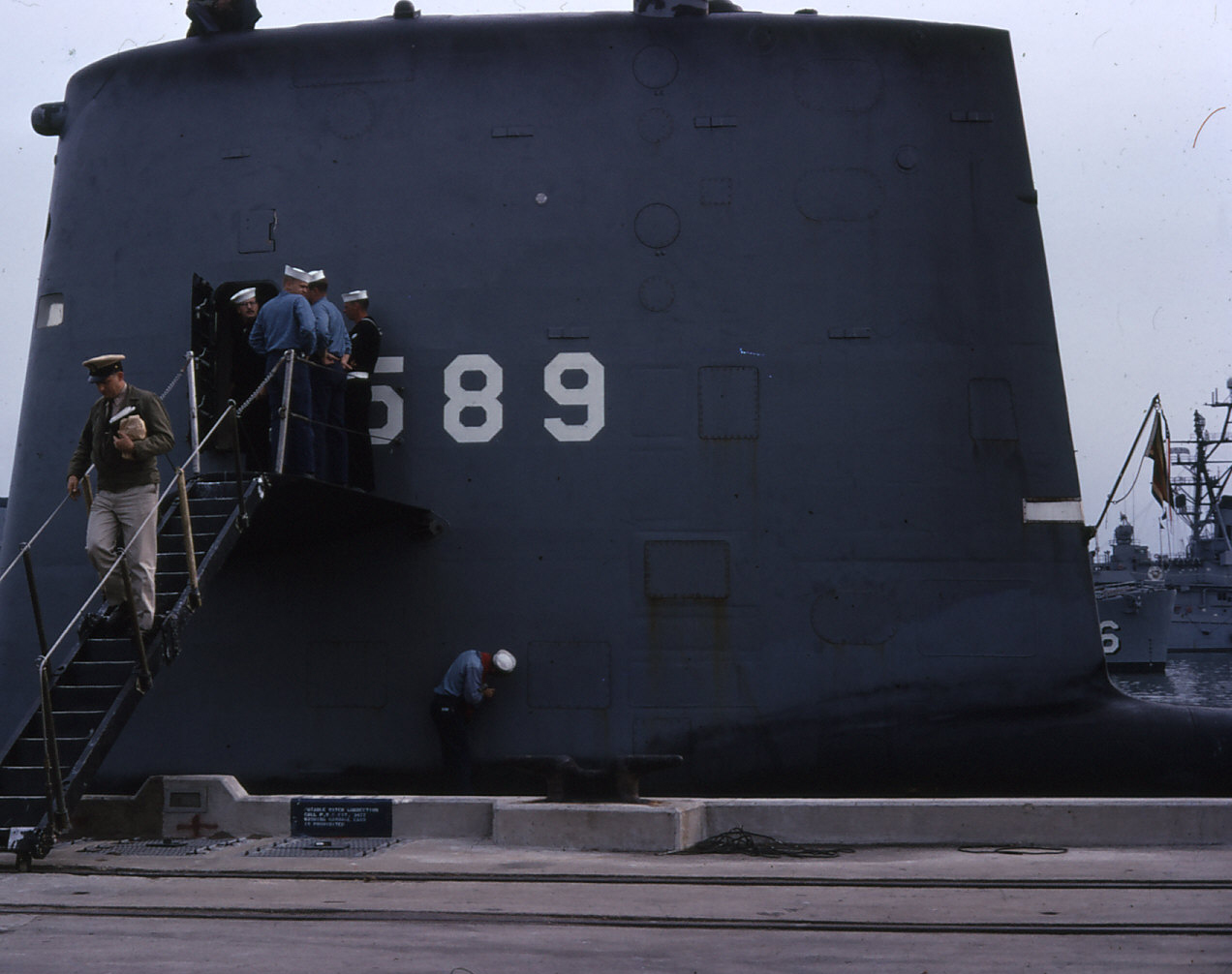 Some of Scorpion's crew disembarking at Norfolk Navy base.  Photo courtesy of Lt. Cmdr. Nate Anderson.
