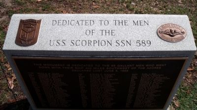 The U.S.S. Scorpion SSN 589 Monument in Huntington Park, located in Newport News, VA.