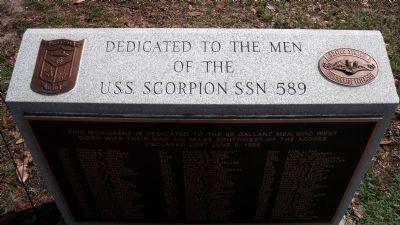 The U.S.S. Scorpion SSN 589 Monument in Huntington Park, located in Newport News, VA.