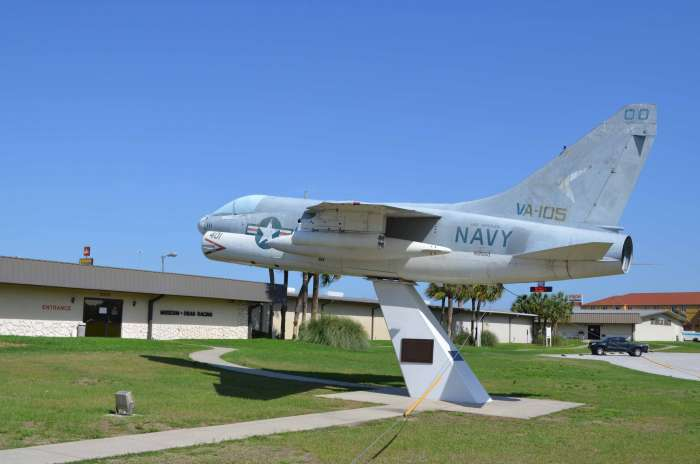This Navy jet fighter is on display just outside the museum building.