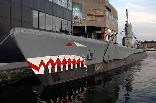 The submarine is one of four historic battleships on display in the Inner Harbor.