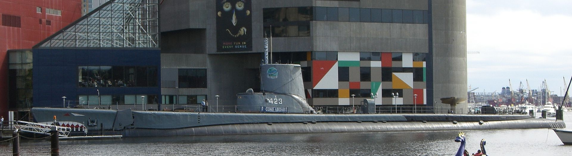 The port-side profile of the submarine