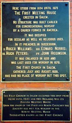 Plaque from the First Meeting House in Salem