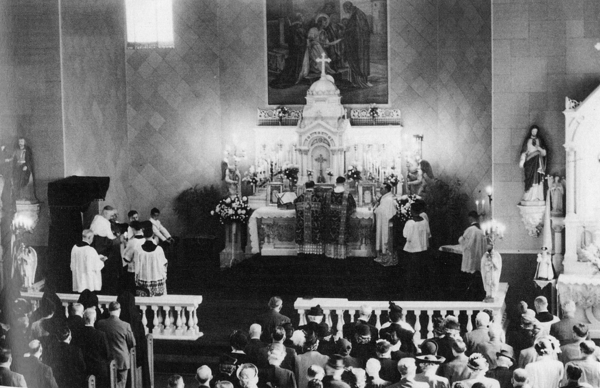 Interior of St. Louis Church, c. 1940s.