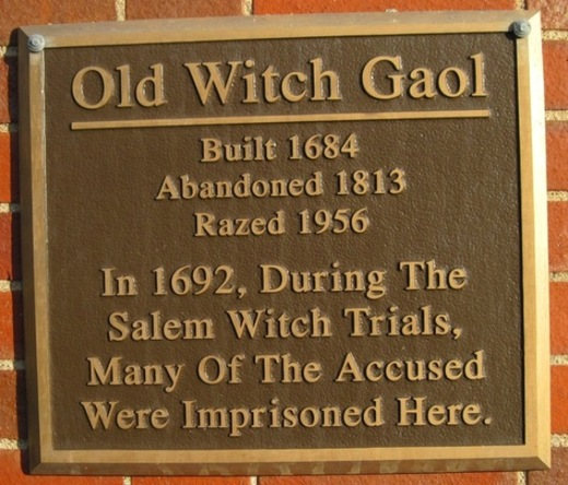 Old Salem Jail Plaque