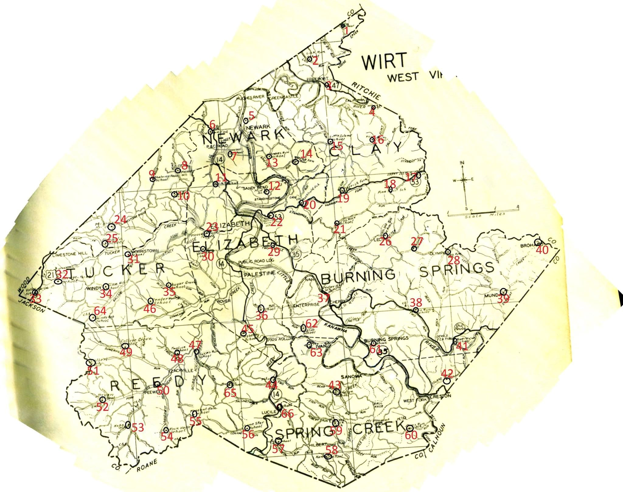 Map of Wirt County