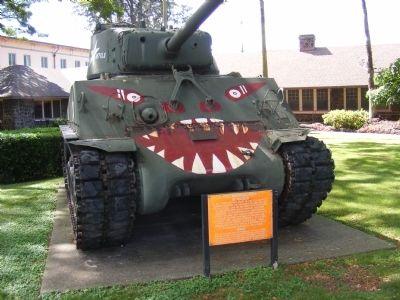 """U.S. tank with """"devils"""" scheme"""