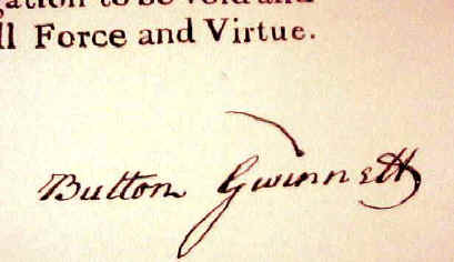 Button Gwinnett's Signature on the Declaration of Independence