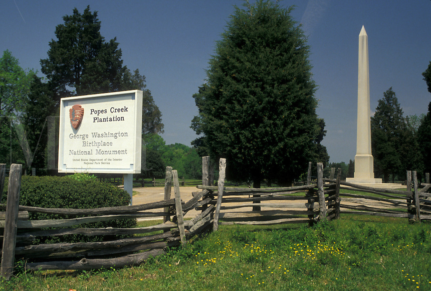 George Washington's birthplace marker at Popes Creek Plantation.
