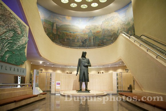 This 18-foot tall statue of William Penn resides within the first floor lobby of the museum.