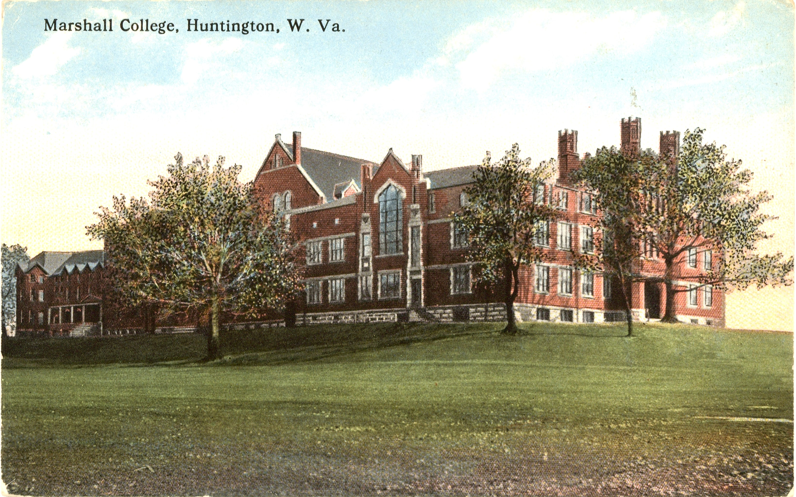 This 1910 postcard shows Old Main with its new Gothic-style main entrance. The exterior of the building has remained largely the same since 1907.