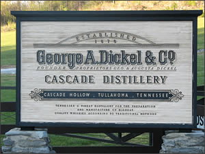 The George Dickel Cascade Hollow Distillery sign