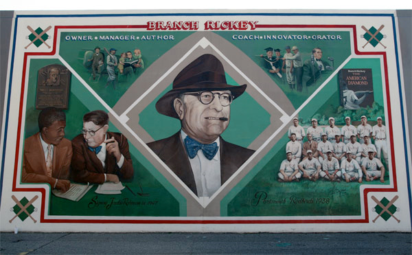 A mural of Branch Rickey, the president and general manager of the Brooklynn Dodgers who signed Jackie Robinson