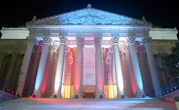 The National Archives Building houses the country's most important documents including the Bill of Rights, the Constitution and the Declaration of Independence.