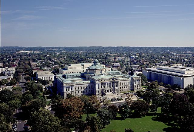 Aerial view of the Jefferson Building, home of the Library of Congress since 1897.