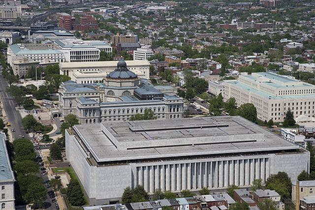 The Jefferson, Adams, and Madison buildings that house all 158 million items of the Library of Congress.
