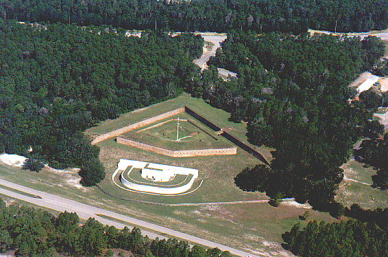 Aerial view of the fort and water battery