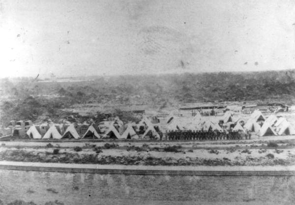 Confederate camp behind the fort