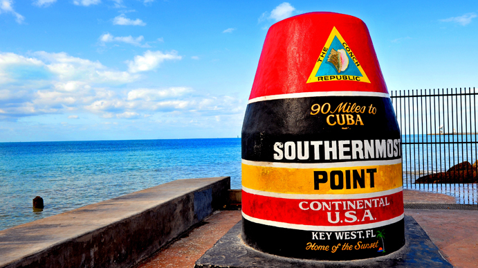 The Southernmost Point Buoy of Key West. There is a Naval Air radar installation about a mile west of this point that was constructed using fill that extended out into the ocean and that radar station is slightly more south than the buoy.