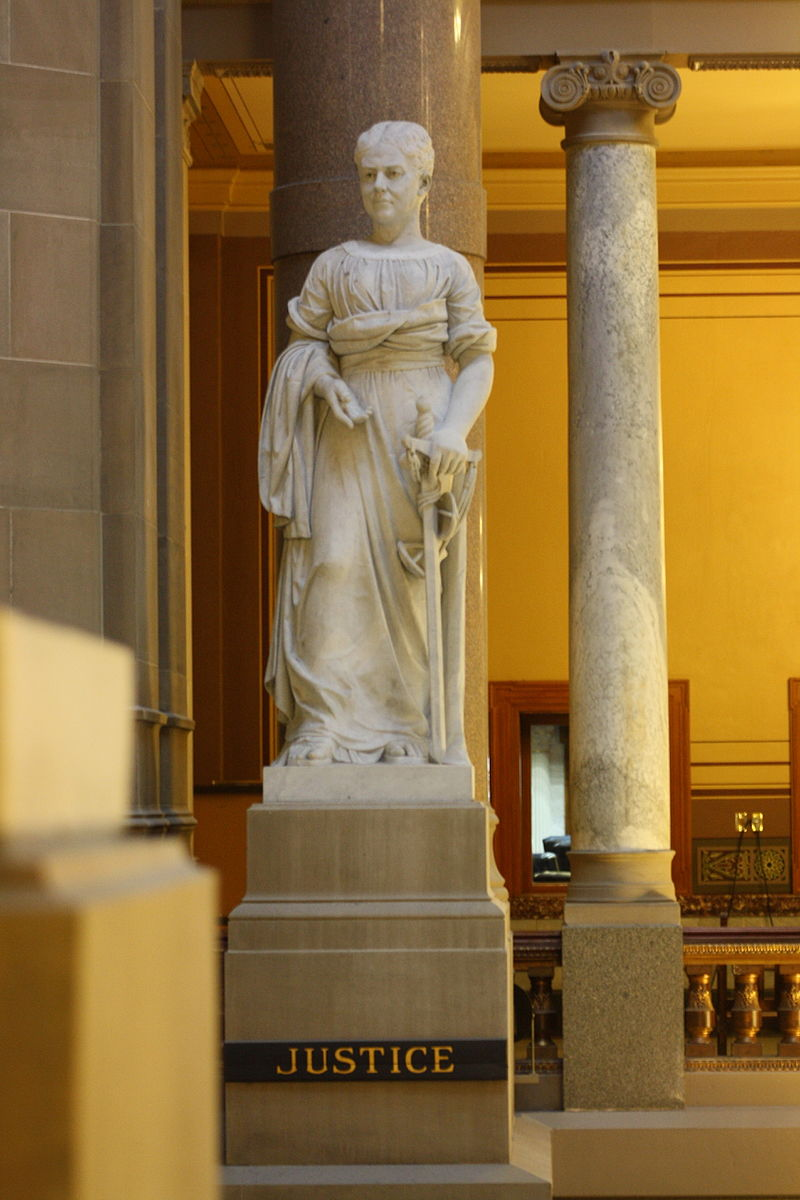 Sculpture of Justice. Created in 1888 by Alexander Doyle