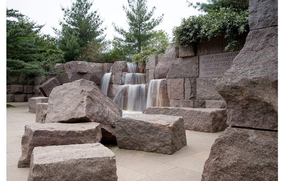 Waterfalls featured at the FDR memorial. Photo from Library of Congress, Carol M. Highsmith.
