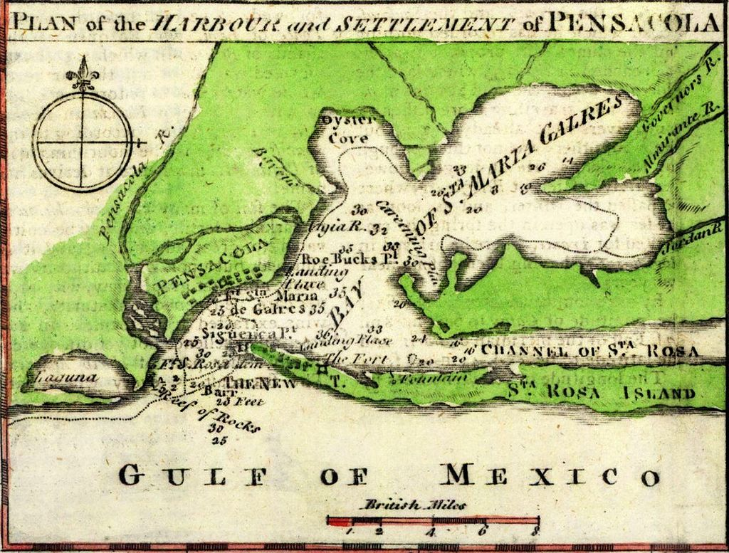 1763 map of Pensacola and its bay