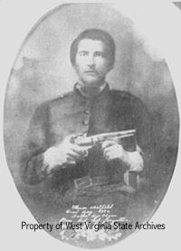 Photograph of Ellison Hatfield in his Confederate uniform