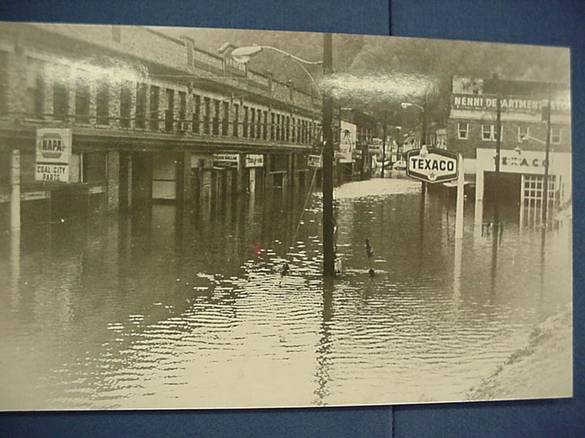 High water in the streets of downtown Matewan