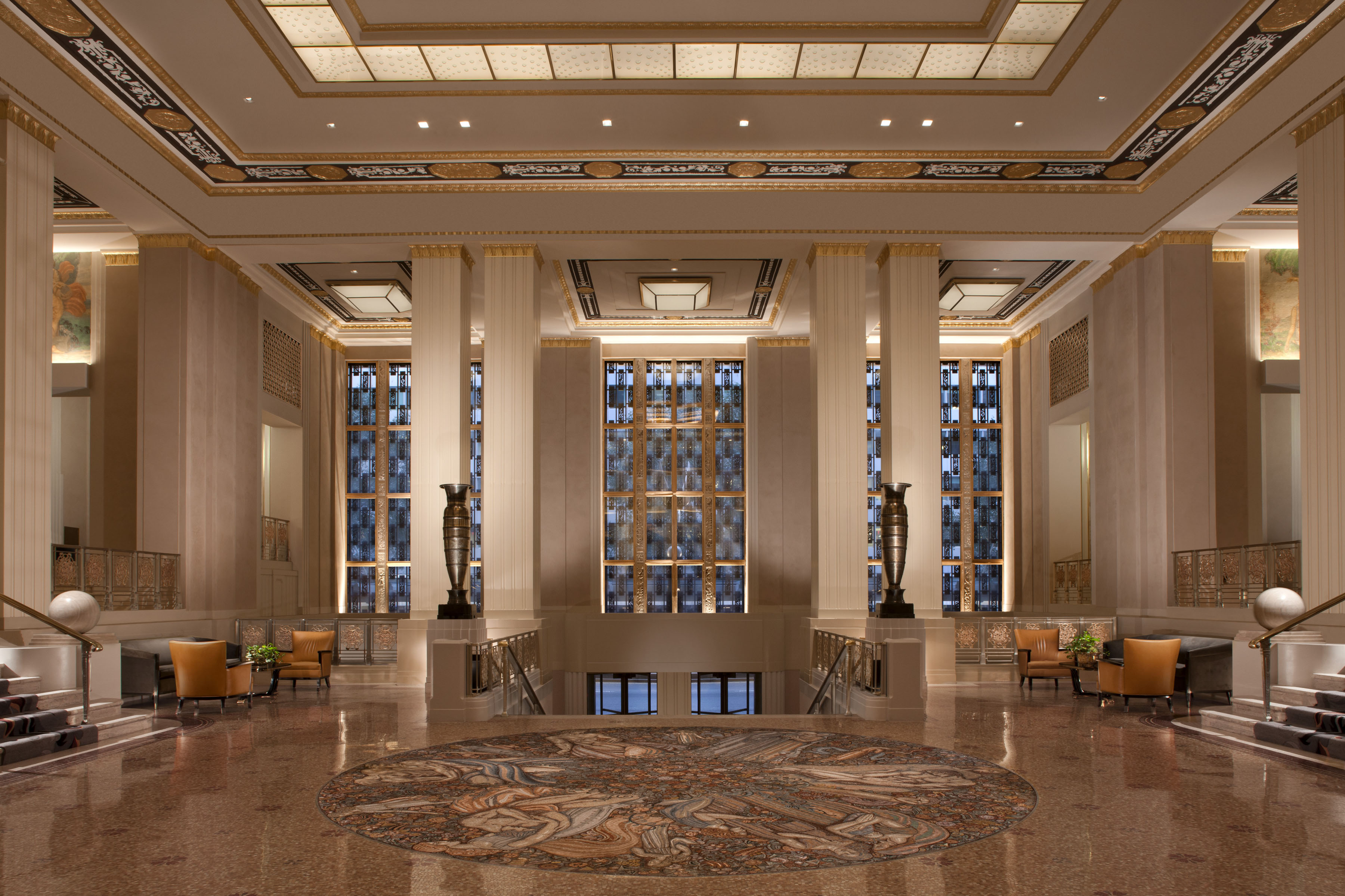 The lobby of the Waldorf-Astoria