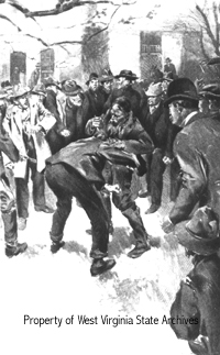 "Drawing from ""American Vendetta"" depicting the murder of Ellison Hatfield"