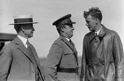 Orville Wright, Major John F. Curry, and Colonel Charles Lindbergh together on June 22, 1927. Courtesy of the Library of Congress.