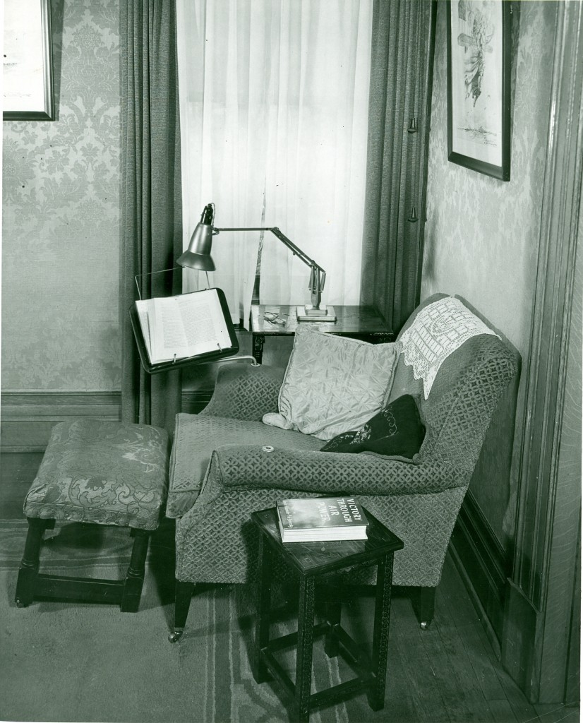 Orville Wright's modified chair with a reversible bookholder.