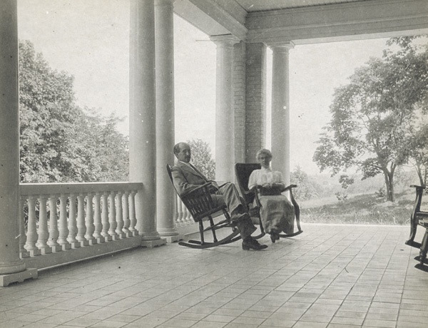 Orville and Katharine Wright on the front porch of Hawthorn Hill.