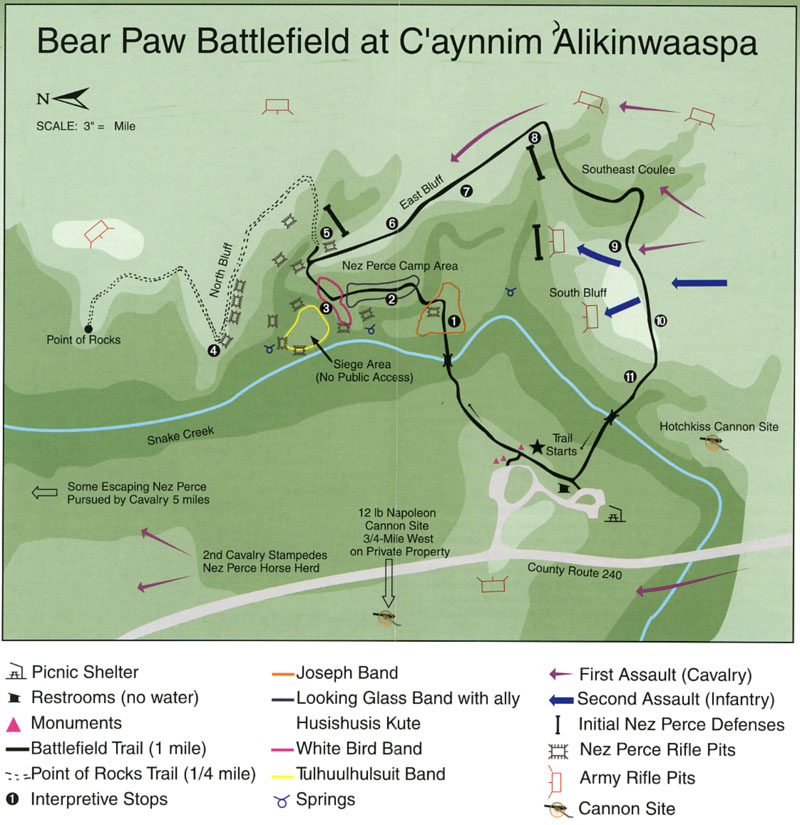A diagram of the Battle of Bear Paw with modern-day landmarks.