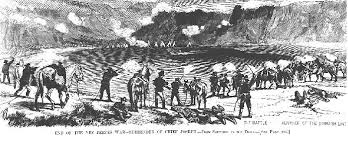 An artist's representation of the Battle of Bear Paw, the final engagement of the Nez Perce War of 1877.