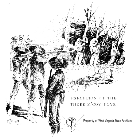 "Drawing of the execution of the Randolph ""Bud"" Jr., Pharmer, and Tolbert McCoy by Hatfields"