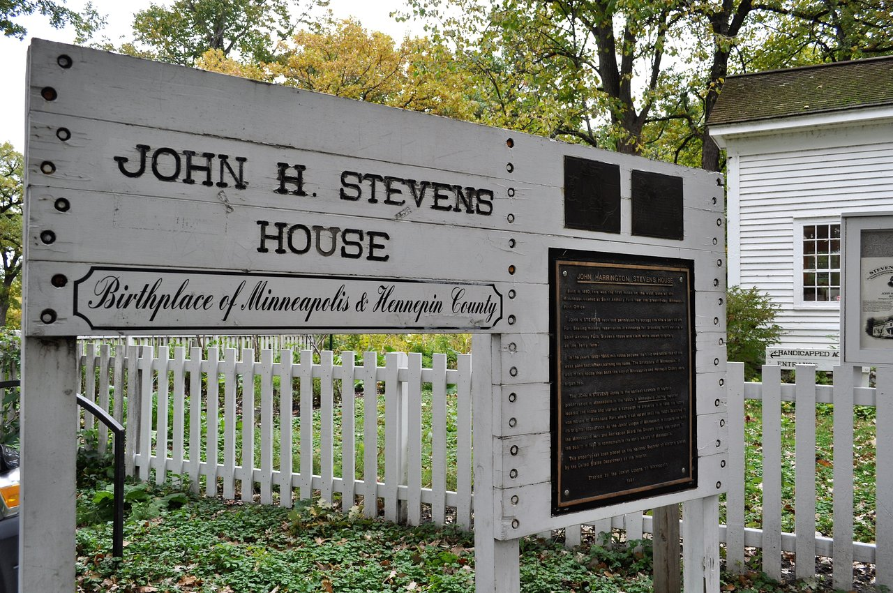 "The sign outside the John H. Stevens House, ""Birthplace of Minneapolis and Hennepin County"""